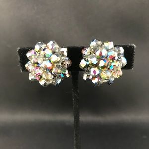 Vintage Aurora Borealis bead clip earrings